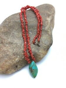 """Vintage Old Pawn Native American Coral Brass Necklace 19"""" 4005 Sale"""