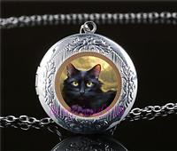 Black Cat  Photo Cabochon Glass Tibet Silver Locket Pendant Necklace
