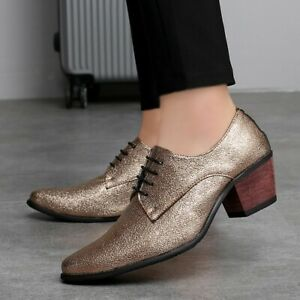 Patent Leather Mens Low Heel Hidden Lace Up Oxfords Shoes Dress Formal Business