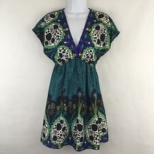 Soulmates Shirt Sleeve Empire Waist Dress Blue Purple Floral Paisley Small