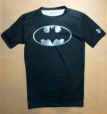 UNDER ARMOUR Alter Ego Mens L Compression BATMAN Short Sleeve Shirt Black Gray