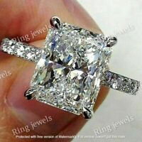 4 Ct Radiant-Cut Diamond Solitaire Engagement Wedding Ring 14k White Gold Over