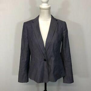 Talbots Women Blazer Jacket Suit Top Size 8 Grey Cotton Blend A202 -22