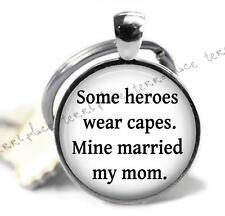 "Stepdad Hero Dad 1"" Glass Top Silver Clip On Key Chain Stepkids Gift Idea"