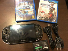 PSP Vita Game Console Set Playstation PCH-1101 Works Charger Games Set Lot