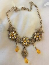 "Gold Chain Necklace Lovely Flower Detail With Amber Diamanté's 17"" Adjustable .."
