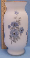 """Frosted Glass Vase w/ Hand Painted Blue & Gray Flower Floral Pattern 9 3/4"""" Tall"""