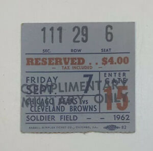 1962 Chicago Bears v Cleveland Browns NFL Ticket Stub Soldier Field 9/7/62