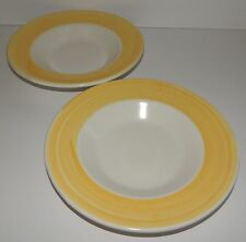 """2 French Country Yellow Streak Wide Rimmed Soup Bowls 10"""" Italy Pottery Barn"""