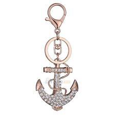 Anchor Keychain Rhinestone Crystal Keyring Key Ring Chain Bag Charm Pendant Gift