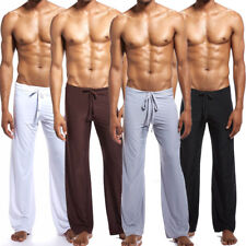 Men Home Clothing Pajama Lounge Pant Silky Sleepwear Elegant Sexy Living Hanging