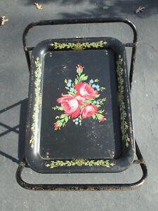 TV Tray Cart Rolling 2 Tier Black Flowers Metal Mid Century Bar Vintage Kitchen
