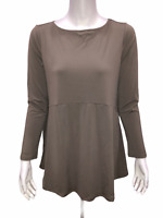 Joan Rivers Women's Jersey Knit Swing Top with Side Pockets Clay X-Small Size