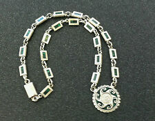 Vintage Taxco Sterling Inlay Green Malachite Aztec Sundail Necklace