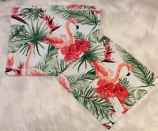 Coastal Collection Flamingo/Palms/Hibiscus Set of Hand & Wash Cloth Towels - NWT