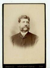 Vintage Armoire Carte Handsome Homme Avec Mutton Chops Mustache Benque Photo