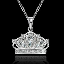"Women's Cubic Zirconia Crown Pendant 18"" Necklace 925 Sterling Silver Plated"