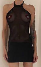Robe Courte Tunique Transparente Sexy Noir Porte Jarretelles Taille M Dress Neuf