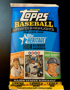 2008 Topps Baseball Updates Highlights Heritage High Numbers Series Sealed Pack
