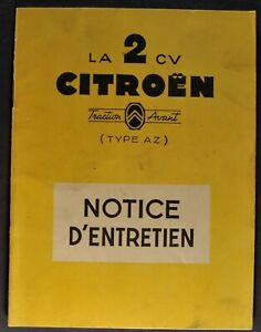 1956 Citroen 2 CV Owner's Manual Instruction Book French Text Nice Original 56