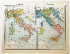 HISTORICAL MAP ITALY 1789 TUSCANY DALMATIA PIEDMONT & 1910 KINGSOM OF NAPLES