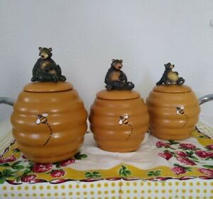 Vintage Honour Cookie Jars, Set of 3, Bear on Beehive with painted Honey Bee