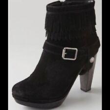 Juicy Couture CARLA SUEDE black fringe boots Size 7 ret.$250