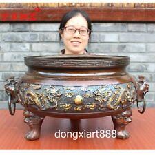 48 cm Chinese Temple Bronze Foo dog lion Dragon Incense Burners censer incensory
