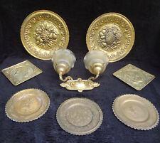 8 Vtg Brass Wall Sconce Lamp Light Decorative Hang Plates Platters Elpec England