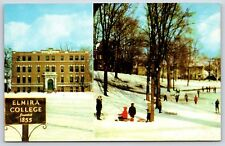 Winter Time on Elmira College Campus Elmira, New York Chrome Postcard