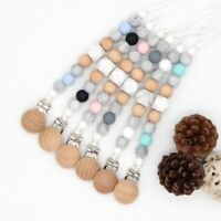 Baby Sensory Holder Wooden Pacifier Clip Silicone Beads Teether Soothers Chain