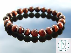Red Tiger Eye Natural Gemstone Bracelet 6-9'' Elasticated Healing Stone Chakra