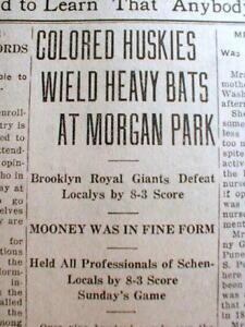 1921 newspaper Early NEGR0 PROFESSIONAL BASEBALL TEAM the BROOKLYN ROYAL GIANTS