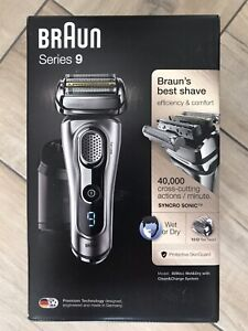 Braun Series 9 Electric Shaver leather case 2 pin plug wet or dry shave flexhead