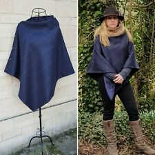 Beautiful Tweed poncho cape wrap navy pink purple, satin lined. great all yr
