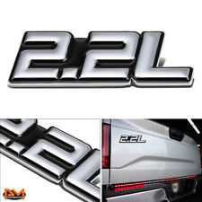 """2.2L"" Polished Metal 3D Decal Silver&Black Emblem For Isuzu/Chevrolet/BMW/Ford"