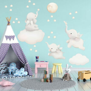 REMOVABLE LOVELY ELEPHANT PLANET STARS WALL STICKER DECAL BABY KIDS GIRLS ROOM