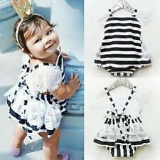 Newborn Infant Baby Girls Lace Romper Jumpsuit One-Piece Clothes Sunsuit 12-18M