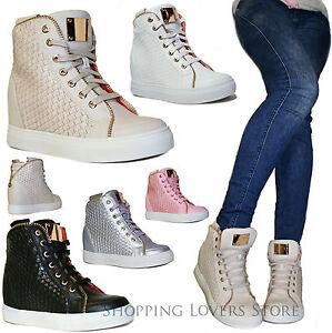 SCARPE Donna Sneakers Sportive Ginnastica Intreccio Rialzo INTERNO 7 Cod. S43