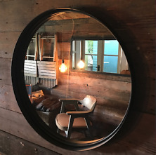 Plain Round Mirror Metal 55cm diameter industrial-style Aged Rust colour