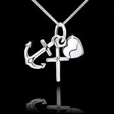 MATERIA 925 Silber Anhänger Glaube Liebe Hoffnung mit Herz Anker Kreuz Religion