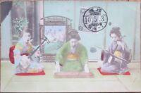 Geisha Girl 1905 Hand-Colored Realphoto Postcard: Japan / Japanese Women & Music