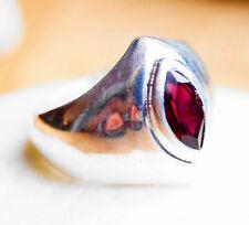 Schlicht Silberring 57 Granat Handarbeit Silber Ring Rot Facettiert Modern