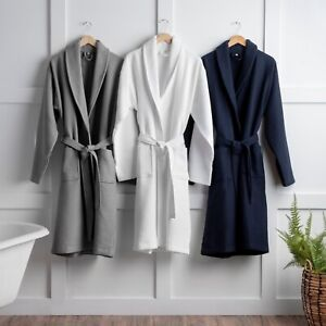 Luxury Soft Unisex 100% Pure Cotton Waffle Bath Robe Ladies Night Gown in 3 Colo