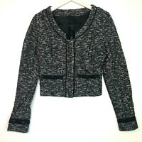 Banana republc monogram long sleeve cropped blazer black white size 4