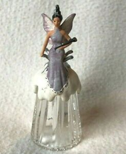 FAIRY Glass THIMBLE Sterling Classic ENGLAND Scepter Throne Wings VINTAGE RARE