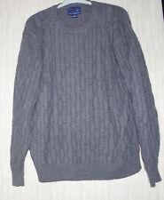 Davis & Squire Cashmere Gray Cable Knit Men Crew Neck Sweater Size:XL Hong Kong