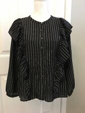 New Madewell Silk Ruffle-front Top Sz S Clean True Black H3849