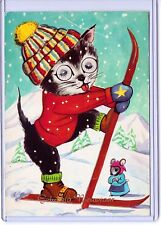 CAT KITTEN WITH 3-D EYES SKIIS WHILE A MOUSE WATCHES POSTCARD