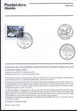 ITALIA 2011 ANTONIO FOGAZZARO BOLLETTINO COMPLETO DI FRANCOBOLLI ANNULLO FDC